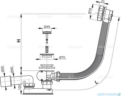 Alcaplast  syfon wannowy automatyczny chrom A55K-80