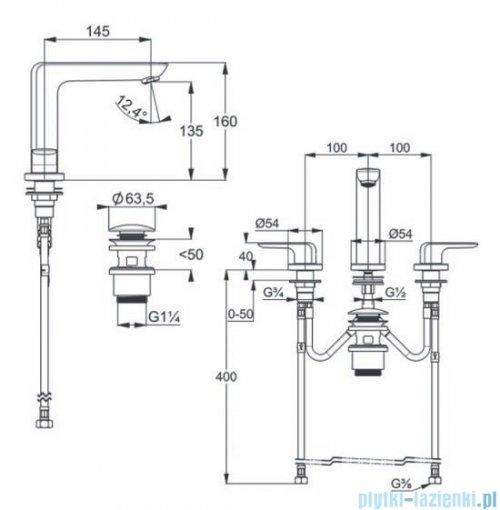 Kludi AMEO bateria umywalkowa 3-otworowa chrom 413930575