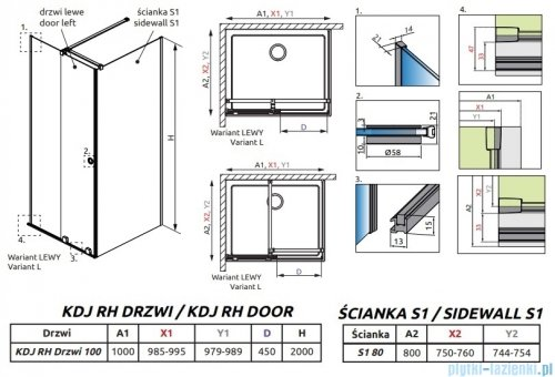 Radaway Furo Black KDJ RH kabina 100x80cm lewa szkło przejrzyste 10104492-54-01LU/10110510-01-01/10113080-01-01
