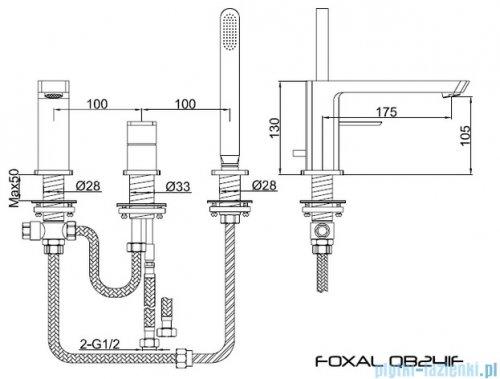 Kohlman Foxal 3-otworowa bateria wannowa z mieszaczem QB241F
