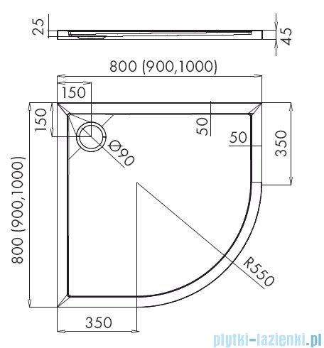 Schedpol Corrina New brodzik półokrągły z SafeMase 90x90x4cm 3.4334