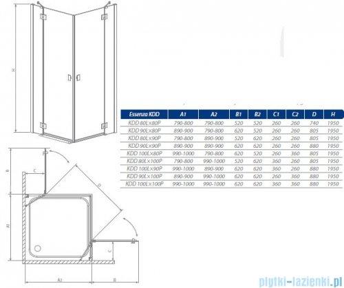 Essenza KDD Radaway kabina 80x80 szkło brąz 32862-01-08N