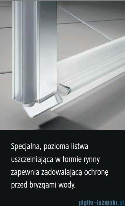Kermi Osia Drzwi wnękowe z polem stałym, prawe, szkło przezroczyste OsiaClean, profile srebrne 120x200cm OSSFR12020VPK