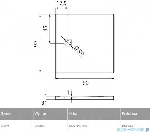 New Trendy Mori brodzik kwadratowy z konglomeratu 90x90x3 cm czarny B-0402