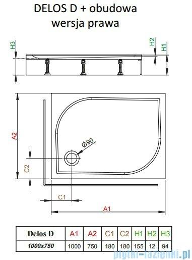 Radaway Brodzik prostokątny Delos D 100x75x15 cm z obudową prawy 4D17515-03R