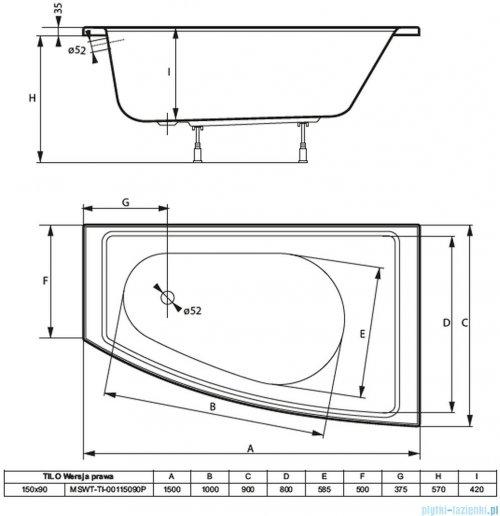 Massi Tilo wanna asymetryczna 150x90 cm prawa MSWT-TI-00115090P