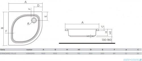 Koło Standard Plus Brodzik 90cm półokrągły XBN1590000