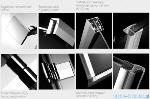 Radaway Kabina prysznicowa Almatea KDJ+S 80x100x80 lewa szkło przejrzyste 31552-01-01L1/31552-01-01L2