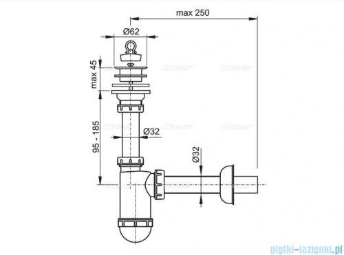 Alcaplast syfon umywalkowy DN32 sitko z tworzywa DN63 A421
