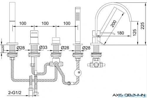 Kohlman Axis 4-otworowa bateria wannowa z mieszaczem QB244N