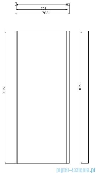 Omnires Bronx kabina prysznicowa 120x80x185cm przejrzyste S2050120+10P80