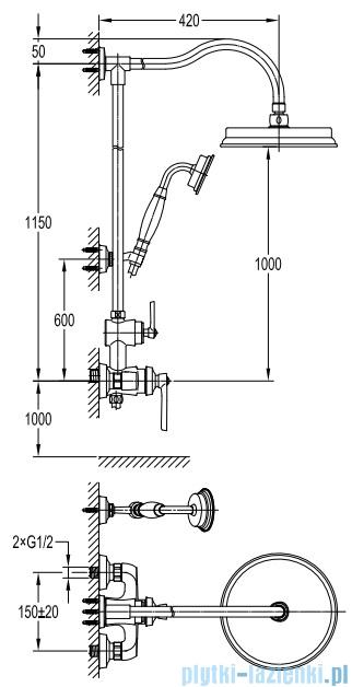Omnires Armance system prysznicowy natynkowy chrom AM5244CR
