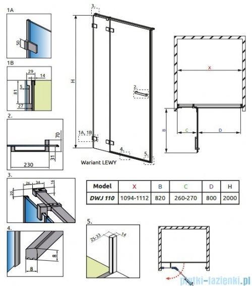 Radaway Euphoria DWJ Drzwi wnękowe 110 lewe szkło przejrzyste 383812-01L/383212-01L