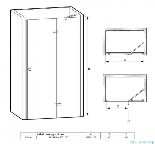 Massi Lapaz drzwi prysznicowe 120x190cm przejrzyste MSKP-LA-0051200