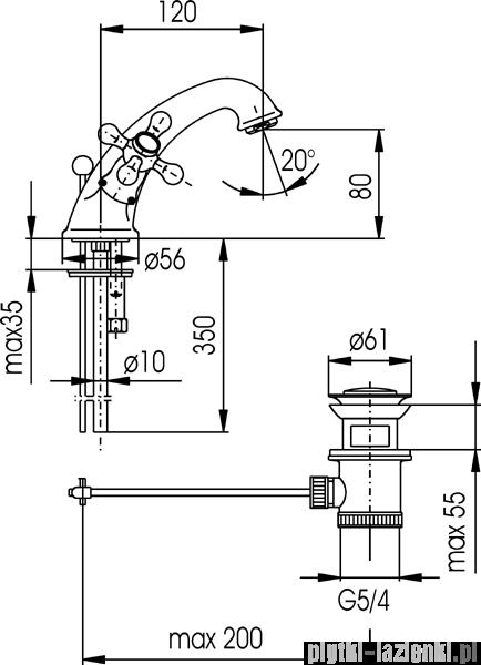 KFA RETRO CLASSIC bateria umywalkowa CHROM   382-825-00