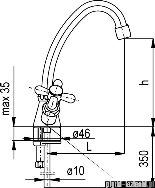 KFA RETRO bateria umywalkowo-zlewozmywakowa, wylewka o wysokości h = 170 mm, długość L = 135 mm CHROM   372-345-00