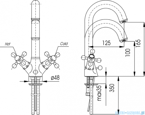 KFA RETRO CLASSIC bateria umywalkowa, wysokość wylewki L = 100 mm, CHROM   382-325-00
