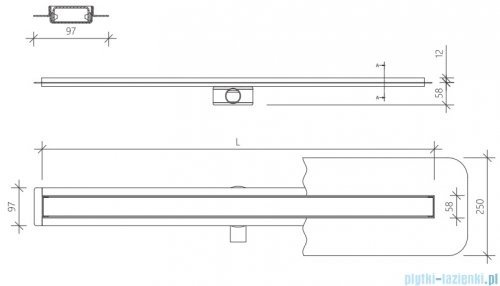 Wiper Premium Slim Mistral Odpływ liniowy 100 cm z kołnierzem WPS1000MI