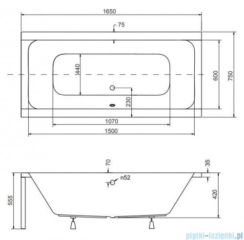 Besco Quadro 165x75cm wanna prostokątna + obudowa + syfon #WAQ-165-PK/#OAQ-165-PK/19975