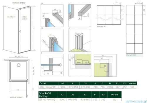 Radaway Nes Black Kdj I Factory kabina 90x100cm prawa rysunek techniczny