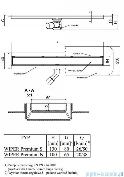 Wiper Odpływ liniowy Premium Sirocco 110cm z kołnierzem mat S1100MPS100