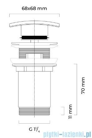 Oltens Halsa (S) korek do umywalki klik klak kwadratowy z przelewem G 1 1/4 chrom 05102100