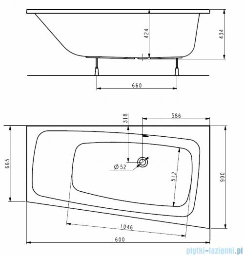 Koło Split wanna asymetryczna prawa 160x90cm rysunek techniczny