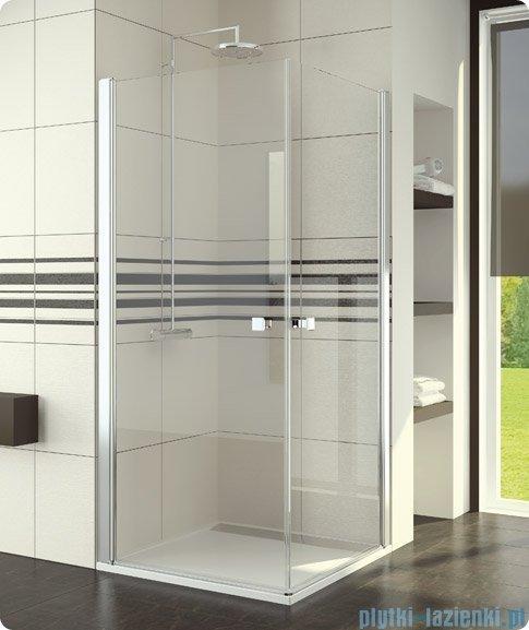 SanSwiss Swing-Line Sle1 Wejście narożne jednoczęściowe 80cm profil biały szkło przejrzyste Prawe SLE1D08000407