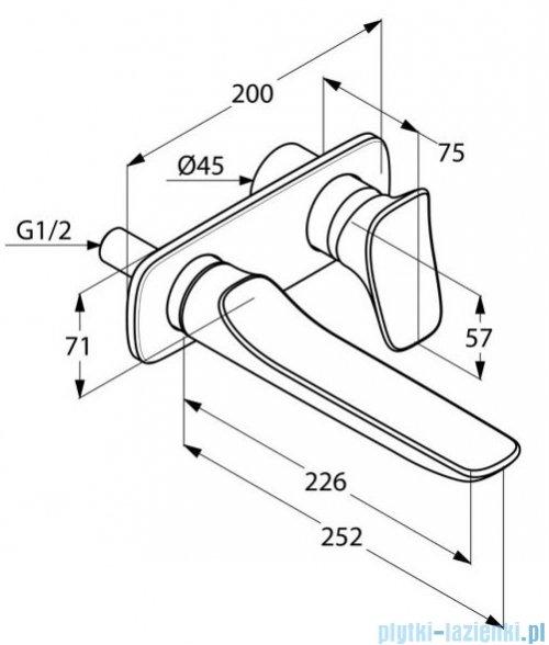 Kludi AMBIENTA ścienna bateria umywalkowa wysięg wylewki 226 mm 532450575