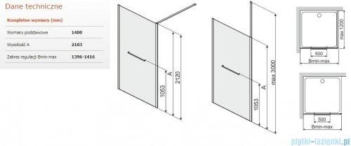 Sanplast Altus PI/ALTIIa kabina walk-in 140x212 cm przejrzyste 600-121-2581-42-401