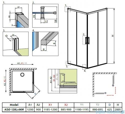 Radaway Idea Kdd kabina 120x90cm szkło przejrzyste + brodzik Doros D + syfon