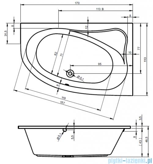 Riho Lyra wanna asymetryczna 170x110cm lewa nóżki+syfon BA64/07/AMC55