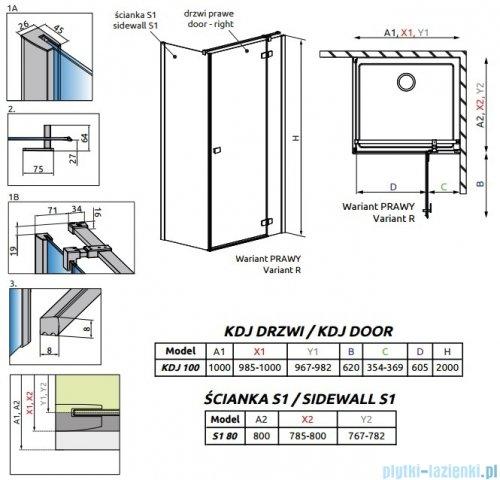 Radaway Fuenta New Kdj kabina 100x80cm prawa szkło przejrzyste + brodzik Doros D + syfon