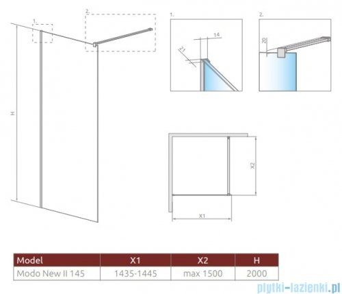 Radaway Modo New II kabina Walk-in 145x200 szkło przejrzyste rysunek techniczny