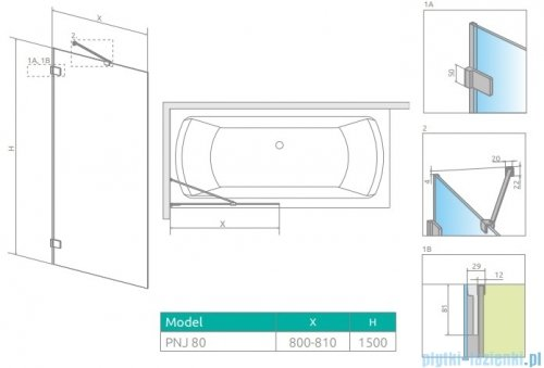 Radaway Euphoria Pnj II parawan nawannowy 80cm L/P szkło przejrzyste 10007080-01-01