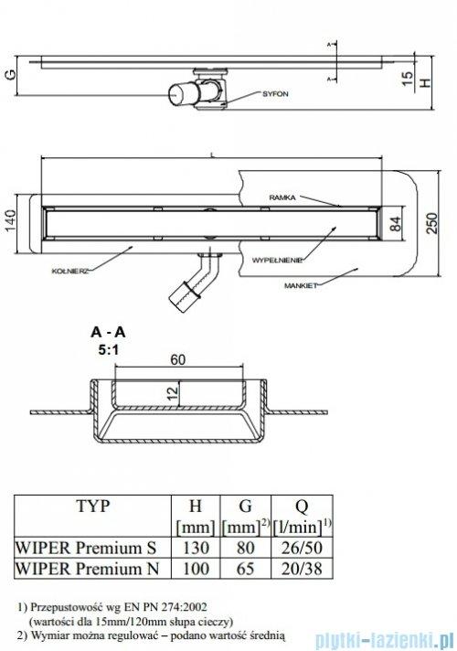 Wiper Odpływ liniowy Premium Mistral 90cm z kołnierzem poler M900PPS100