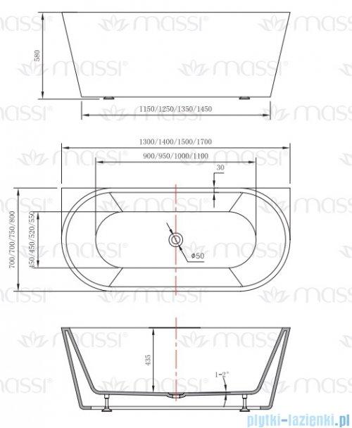 Massi Wall 140 wanna wolnostojąca przyścienna 140x70cm biała + syfon MSWA-6815B140