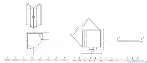 Besco Viva kabina kwadratowa z brodzikiem i syfonem 80x80cm przejrzyste VK-80-195-C/BAX-80-KW
