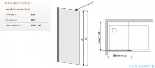 Sanplast Space Wall P/SPACEWALL kabina walk-in 110x200 cm przejrzyste 600-320-2150-42-401