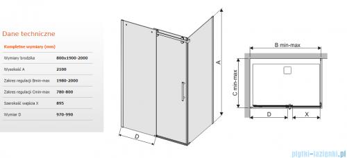 Sanplast kabina KND2/ALTII narożna prostokątna 80x190-200x210 cm przejrzysta 600-121-0891-42-401