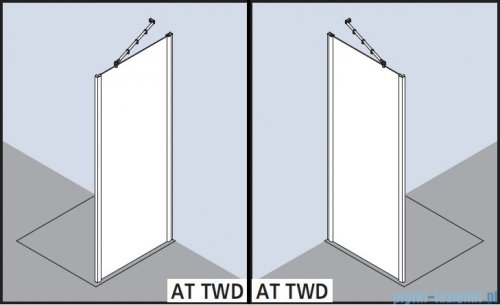 Kermi Atea Ściana boczna, szkło przezroczyste z KermiClean, profile srebrne 100x200cm ATTWD10020VPK