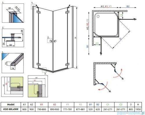 Radaway Kabina prysznicowa Almatea Kdd 80x90 szkło przejrzyste + brodzik Doros D + syfon 32187-01-01N