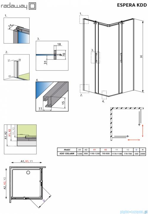 Radaway Espera KDD Kabina prysznicowa 120x80 szkło przejrzyste 380153-01L/380150-01R