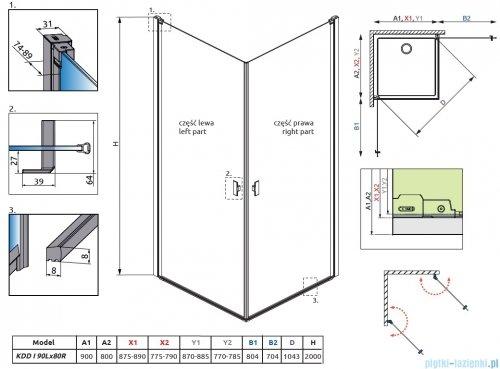 Radaway Nes Black Kdd I Frame kabina 90x80cm rysunek techniczny