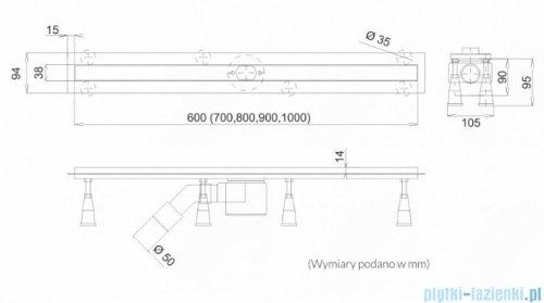 Schedpol Schedline odpływ liniowy z maskownicą slight steel 60x3,5cm SOLSL-60035