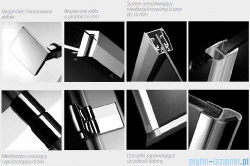Radaway Kabina prysznicowa Almatea KDJ+S 90x90x90 prawa szkło przejrzyste + Brodzik Delos C + syfon 31522-01-01R1/31522-01-01R2