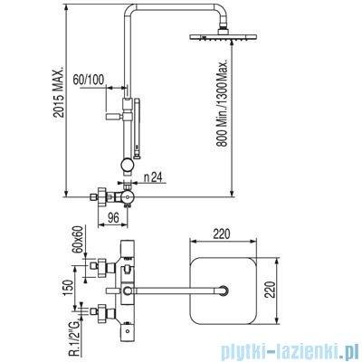 Tres Loft-Tres Zestaw termostatyczny natryskowy kolor chrom 200.195.01