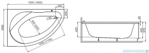 Polimat Marea wanna asymetryczna 150x100 prawa + obudowa + syfon 00293/00294/19975