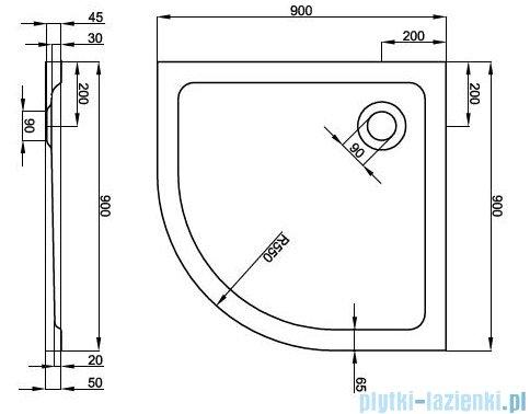Atrium Platani brodzik półokrągły 90x90x5 cm QA1-90