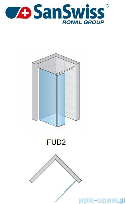 SanSwiss Fun Fud2 kabina Walk-in 80cm profil połysk FUD208005007
